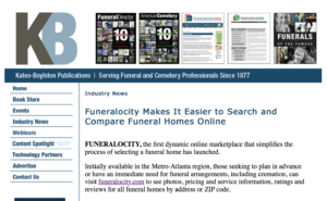 Funeral Service Insider reports on the launch of Funeralocity
