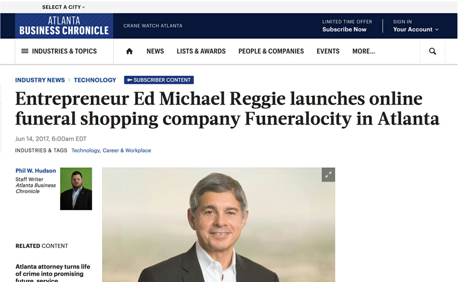 Atlanta Business Chronicle Q&A with Funeralocity Founder and CEO Ed Michael Reggie