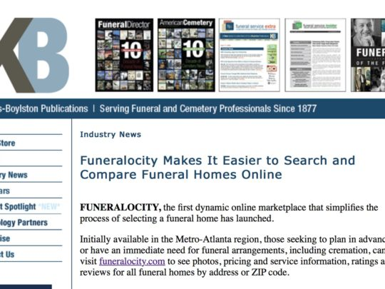 Funeral Service Insider story on the launch of Funeralocity
