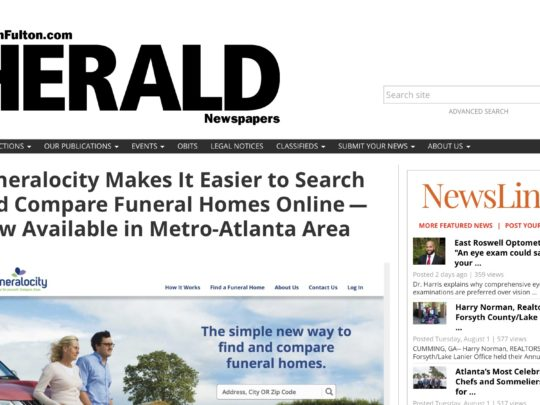 North Fulton Herald article on the launch of Funeralocity in Atlanta